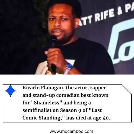 """Ricarlo Flanagan, the actor, rapper and stand-up comedian best known for """"Shameless"""" ..."""