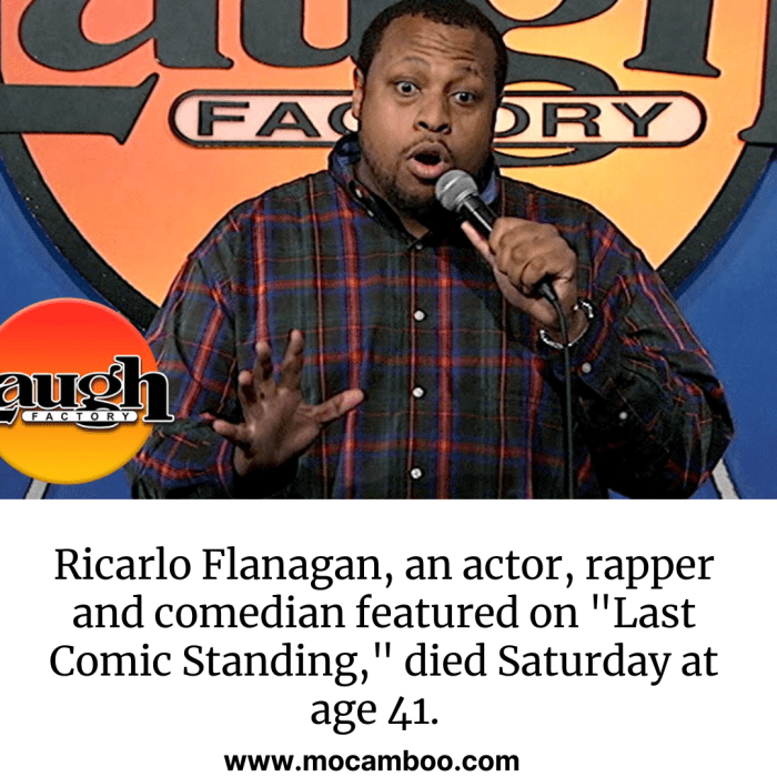 """Ricarlo Flanagan, an actor, rapper and comedian featured on """"Last Comic Standing,"""" d ..."""