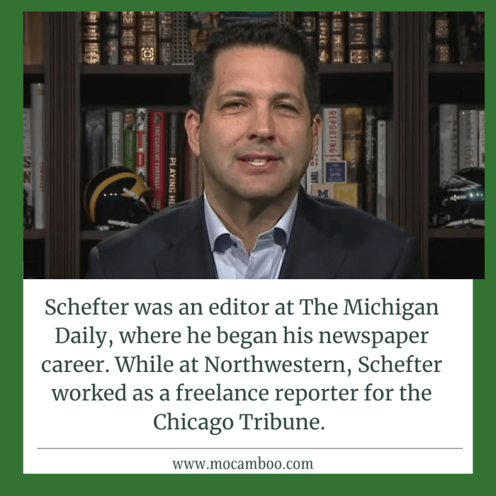 Schefter was an editor at The Michigan Daily, where he began his newspaper career. While at Nort ...