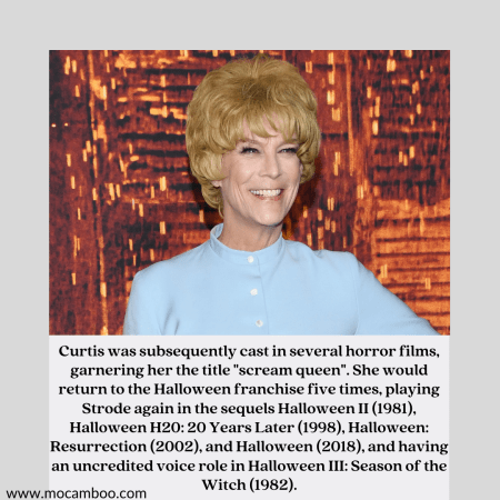 """Curtis was subsequently cast in several horror films, garnering her the title """"scream quee ..."""