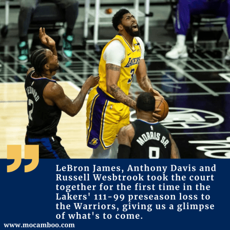 LeBron James, Anthony Davis and Russell Wesbtrook took the court together for the first time in  ...