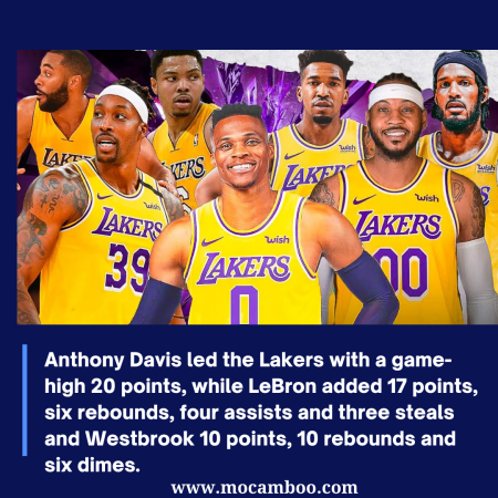 Anthony Davis led the Lakers with a game-high 20 points, while LeBron added 17 points, six rebou ...
