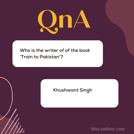 Who is the writer of of the book 'Train to Pakistan'?