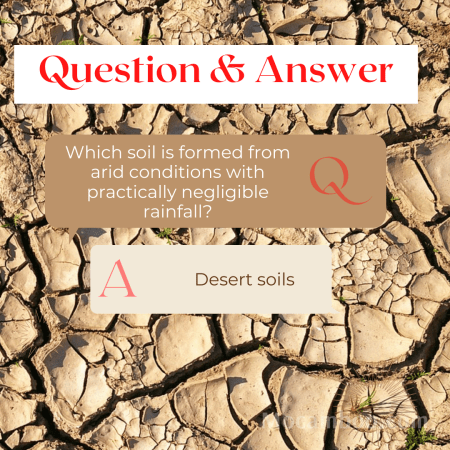 Which soil is formed from arid conditions with practically negligible rainfall?