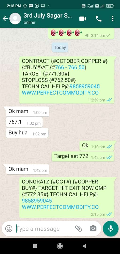 COPPER BUY TARGET HIT UPDATED BY PERFECTCOMMODITY.CO CONTACT WITH US 8266945222