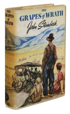 "Lot1189-Steinbeck-GrapesofWrath2 STEINBECK, JOHN. 1902-1968. The Grapes of Wrath. New York: Viking Press, [1939]. 8vo. Original pictorial cloth; dust jacket. Provenance: Helen Murphy (presentation inscription and ownership inscription to title). FIRST EDITION, PRESENTATION COPY, inscribed and signed by the author on the front free endpaper, ""again for Helen Murphy / affectionately / John Steinbeck."" Helen Murphy (later Helen Murphy Martin) seems to be a relative of John Murphy, Steinbeck's school-days friend from Salinas with whom he corresponded into the 1960s. Grapes of Wrath was not kindly received by many of Steinbeck's old acquaintances around Salinas; he later wrote to Dennis Murphy (John Murphy's son) that, ""After I had written the Grapes of Wrath and it had been to a large extent read and sometimes burned, the librarians at Salinas Public Library, who had known my folks--remarked that it was lucky my parents were dead so that they did not have to suffer this shame."" (Life in Letters, Sept 21, 1956). Goldstone & Payne A12.a. Est. $10,000-15,000"