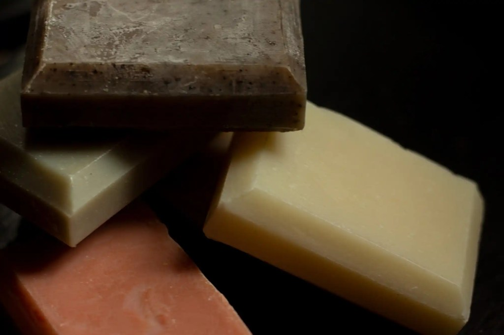 Organic Bath Co bar soaps scatted about