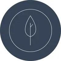 Ranavat logo dark blue circle with leaf line drawing