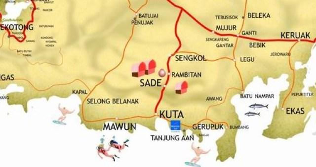 Mapa de playas de Lombok
