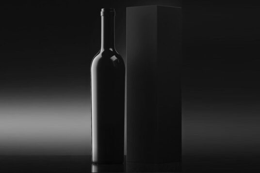 Easy to download and easy to customie. Black Wine Bottle With Box Mockup Mockup World