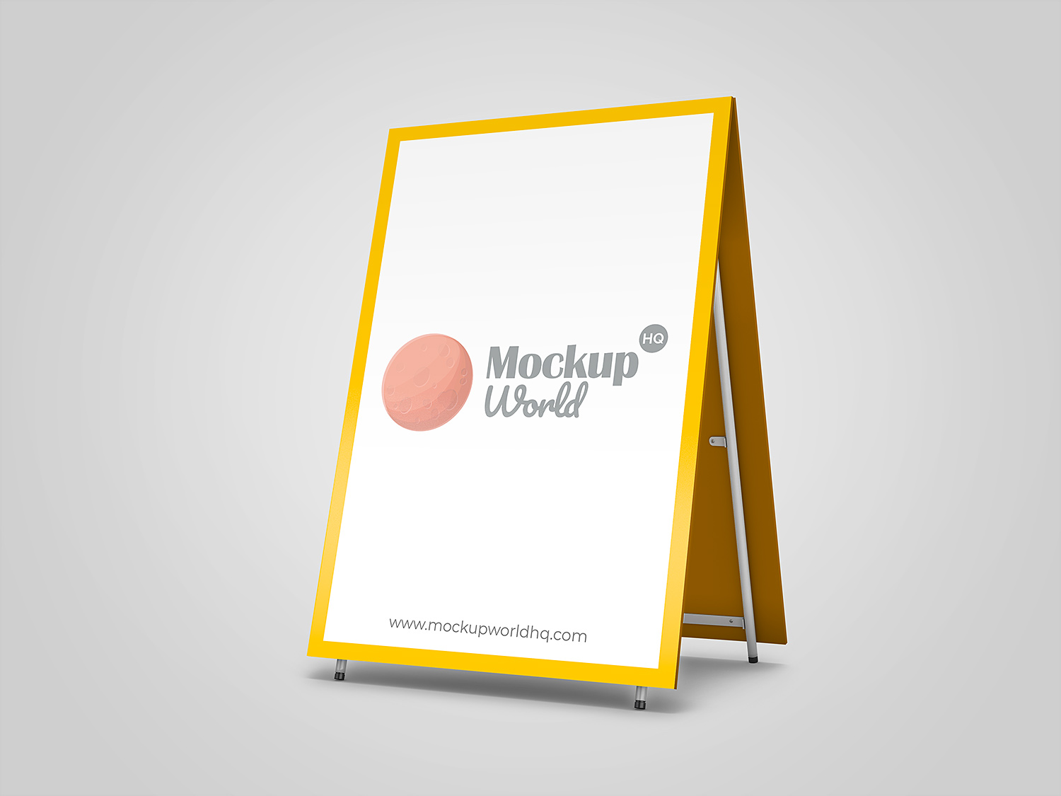 Sign board on the front side of a restaurant. Advertising Sandwich Board Mockup Mockup World Hq
