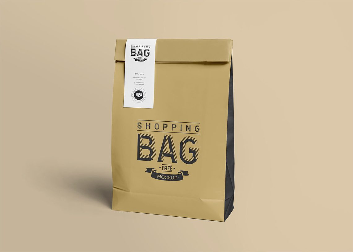 Download Food Delivery Paper Bag Free Mockup | Mockup World HQ