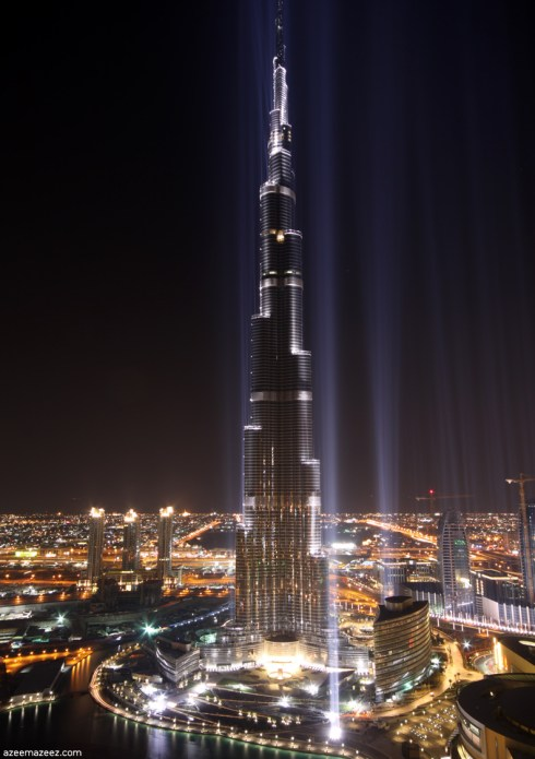 Dubai the tallest building of the world Burj Khalifa at night
