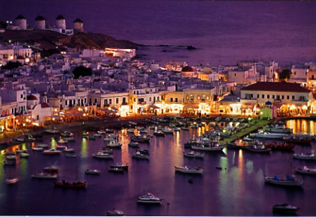 Greek island mykonos at night