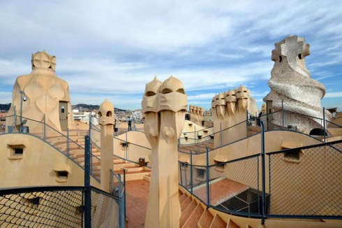 Spain Barcelona Casa Mila on top
