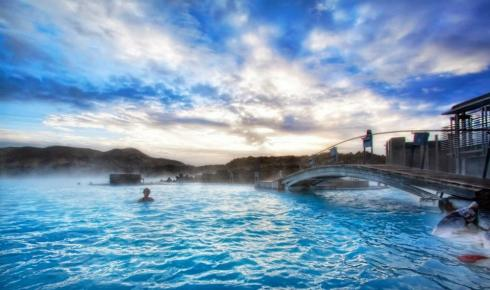 most beautiful natural pools Grindavík, Iceland.