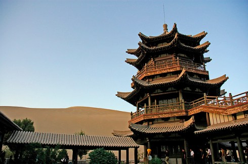 Pagoda, beautiful natural wonder Crescent lake China