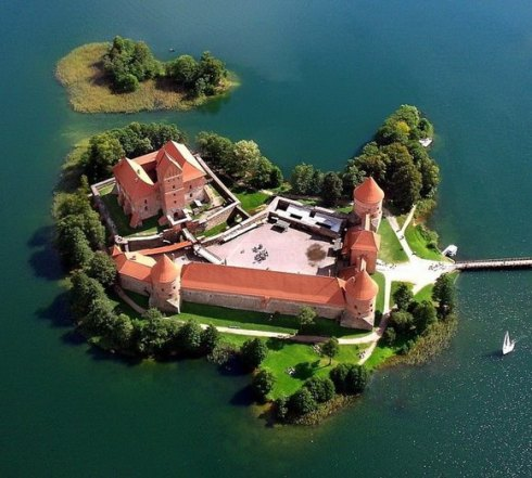 Trakai Island Castle in Lake Galvė, Lithuania.