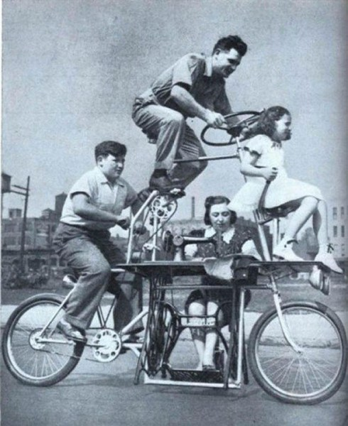 strange inventions from the past, family bike