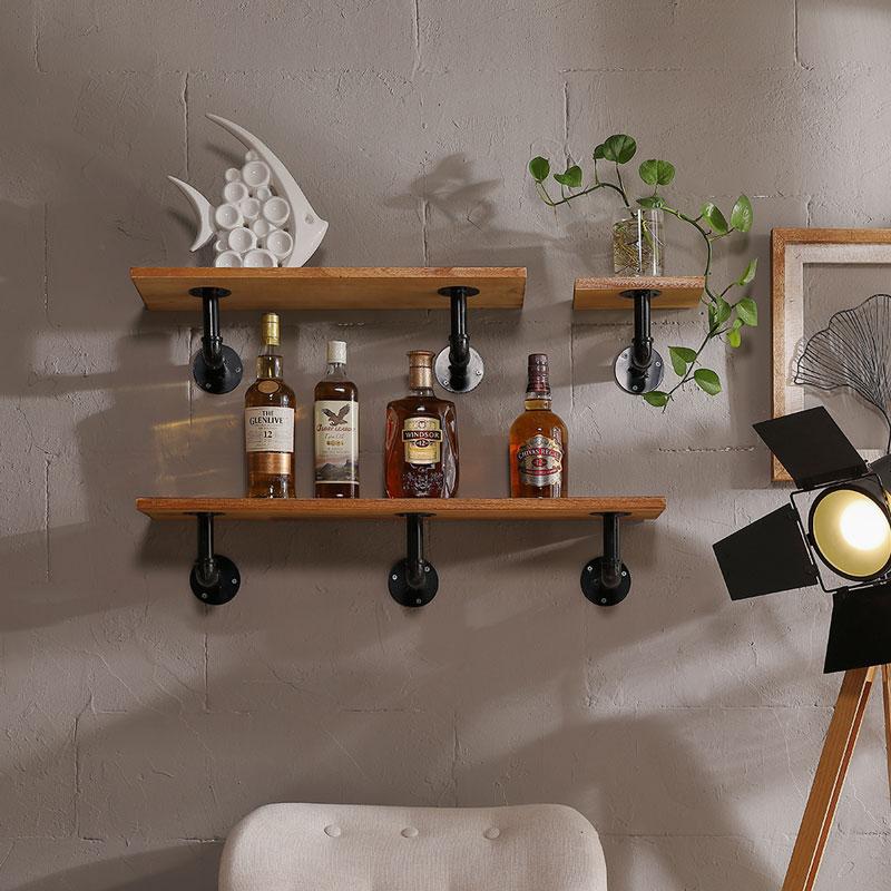 3 Piece Industrial Floating Pipe Wall Shelf Set - Mocome Decor on Corner Sconce Shelf Tray id=20823