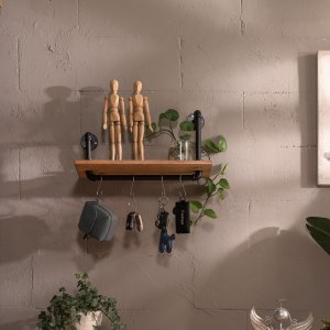 Industrial Pipe Design and Ash Wood Floating Wall Shelf