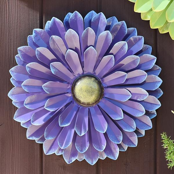Outdoor Wall Decor - Purple Metal Flower Wall Decor