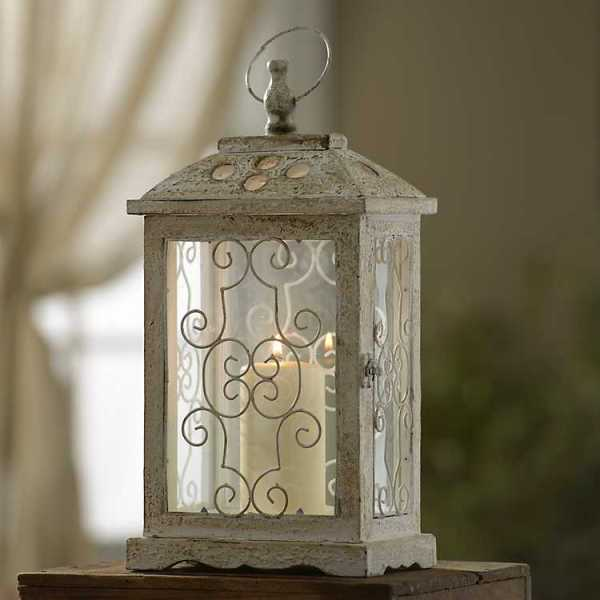Candle Lanterns - Antique White Wood Lantern