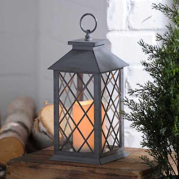 Candle Lanterns - Gray Criss-Cross LED Lantern