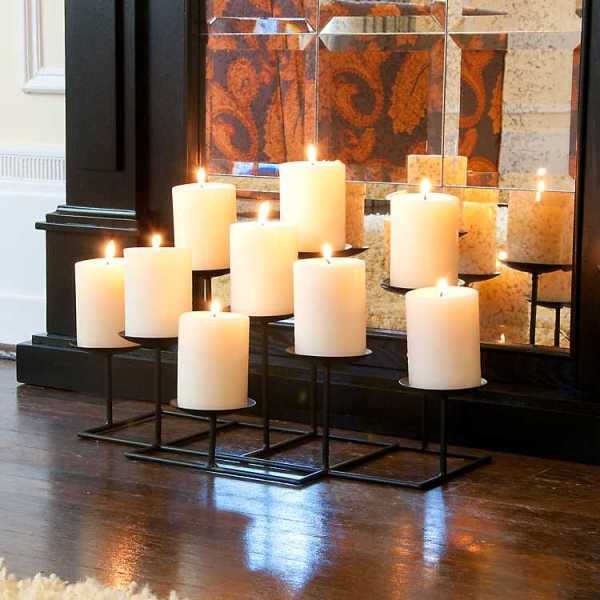 Candle Holders - Staggered Metal Candelabra