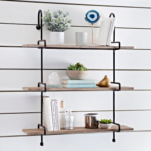 Wooden Slatpipe Shelf