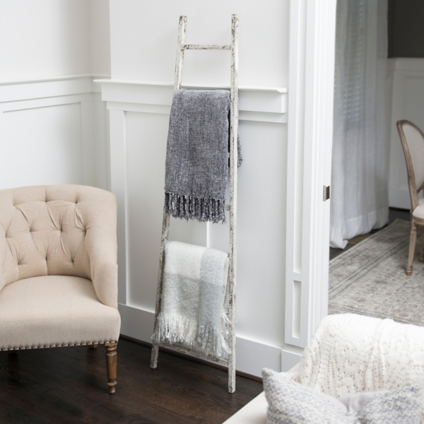 Decorative Accessories - Distressed White Leaning Ladder