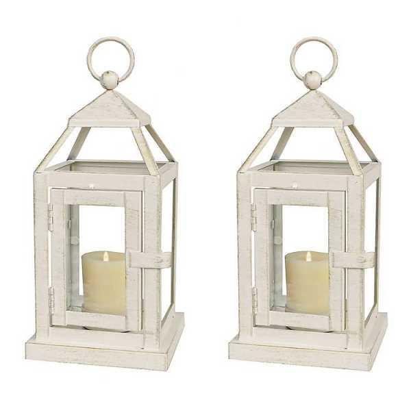 Candle Lanterns - White Miniature Metal Lanterns