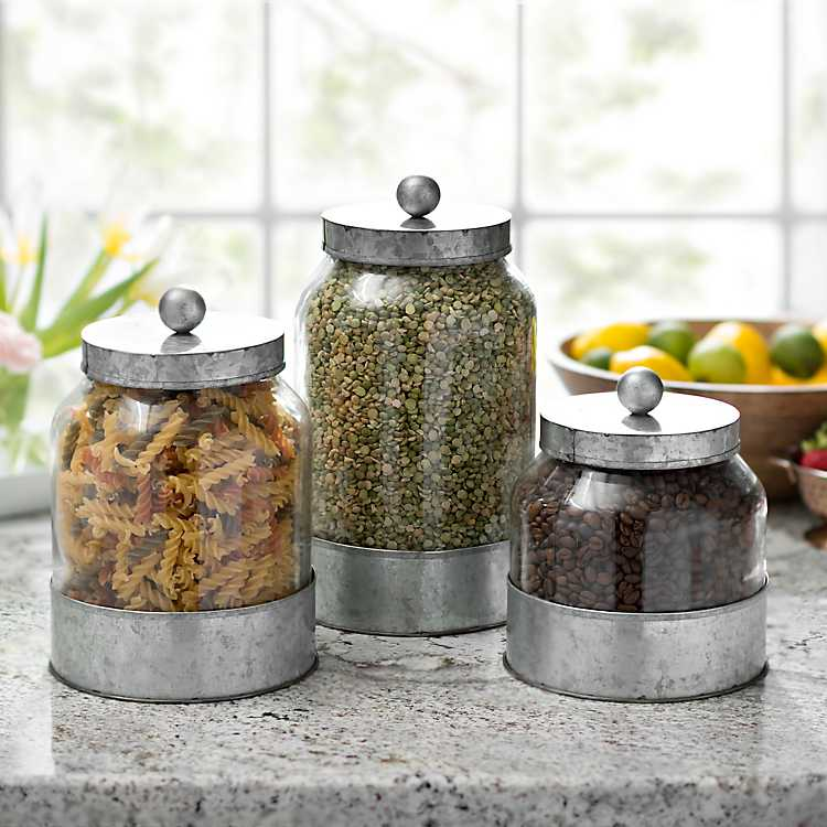 kitchen canisters - galvanized metal and glass canisters