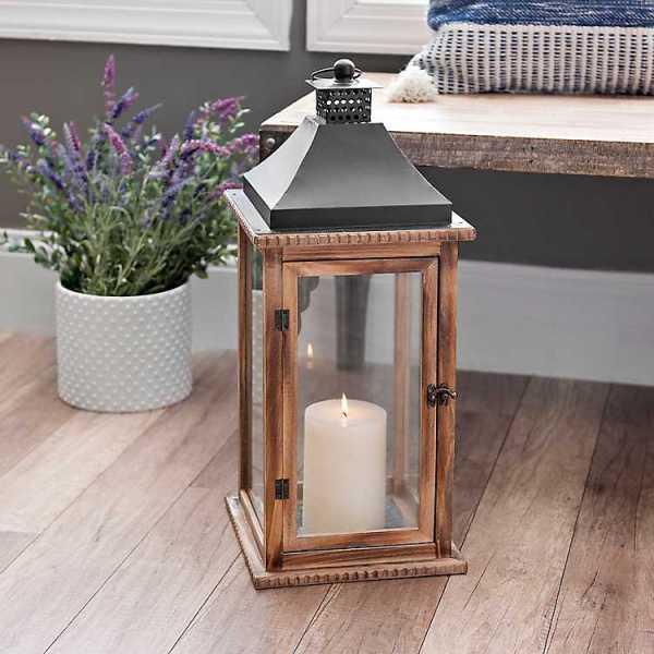 Candle Lanterns - Brown Martin Wood and Metal Lantern