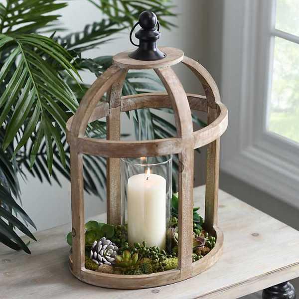 Candle Lanterns - Caged Wood Lantern with Glass Hurricane