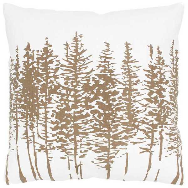 Throw Pillows - Silver Pine Tree Print Pillow