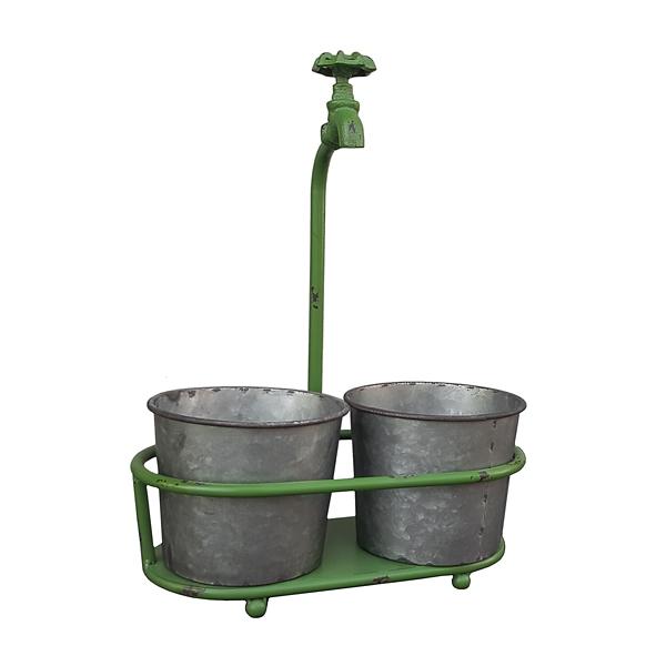 Garden Decor - Green Faucet Double Planter
