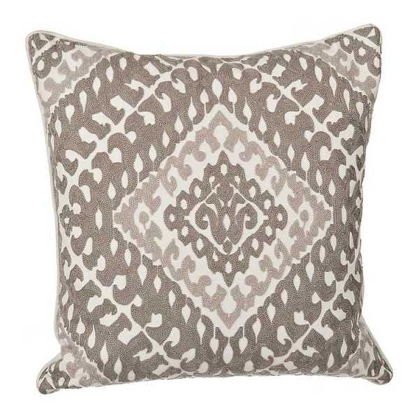 Throw Pillows - Two-Tone Gray Embroidered Pillow
