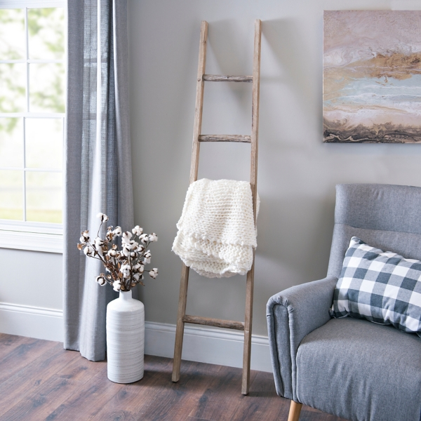 Decorative Accessories - Natural Wood Leaning Ladder