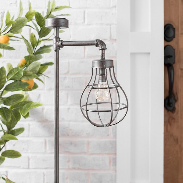 Garden Decor - Metal Caged Bulb Solar Lantern