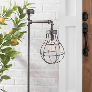 Garden Decor - Metal Caged Bulb Solar Lantern