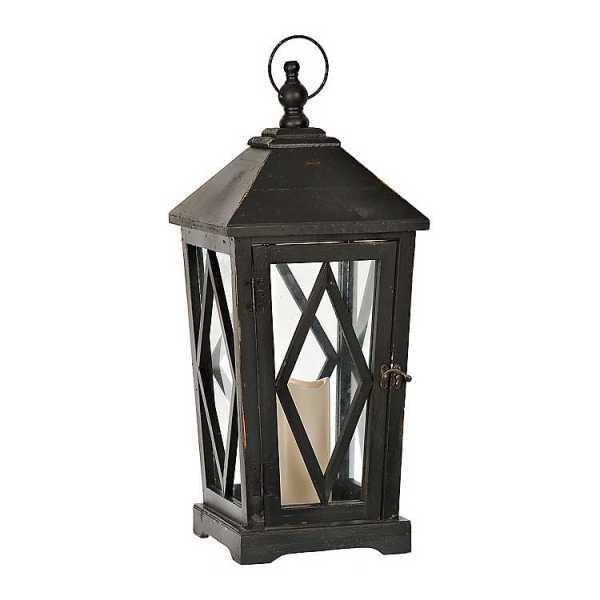 Candle Lanterns - Black Wooden Lantern with LED Candle