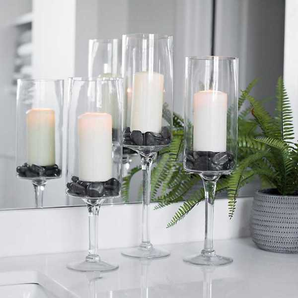 Candle Holders - Glass Stem Hurricanes
