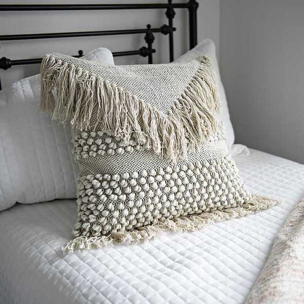 Throw Pillows - Ivory Knotted Fringe Pillow