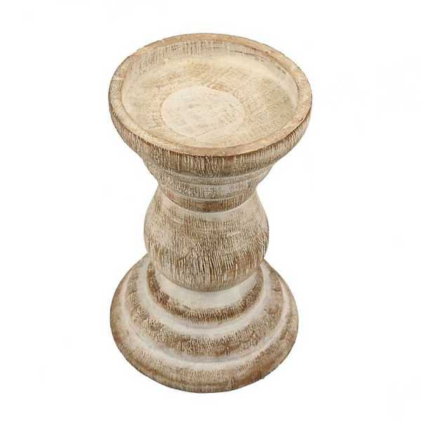 Candle Holders - Distressed Turned Wood Candle Holder