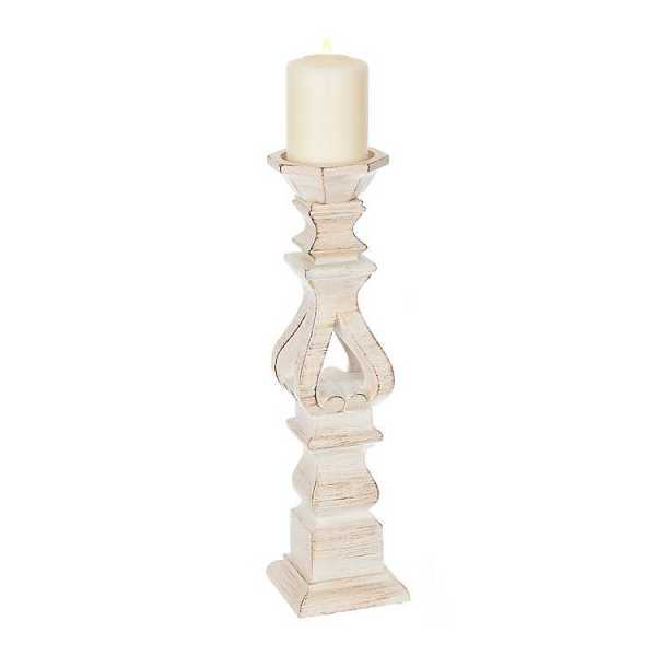 Candle Holders - Brushed White Candle Holder, 16 in.