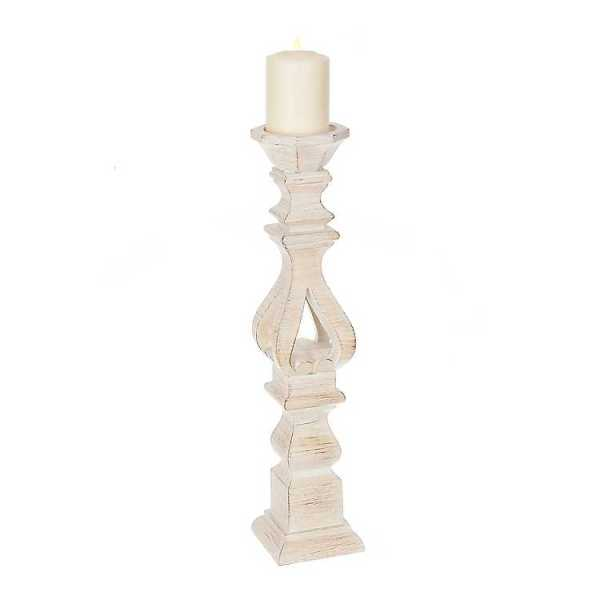 Candle Holders - Brushed White Candle Holder, 20 in.
