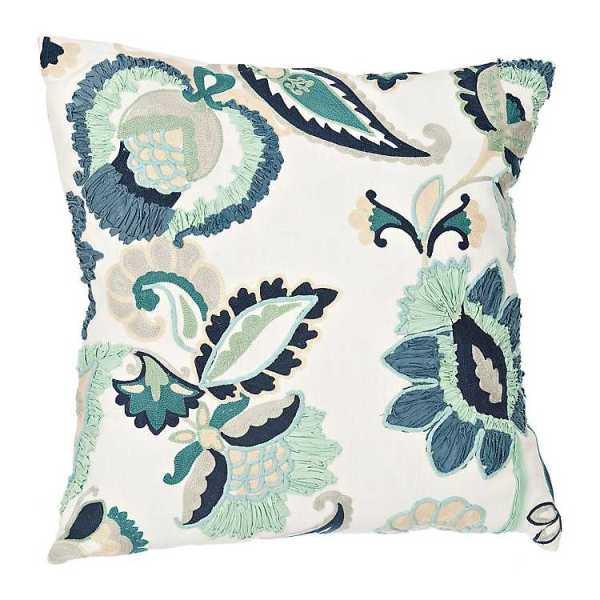 Throw Pillows - Blue Clara Embroidered Floral Pillow