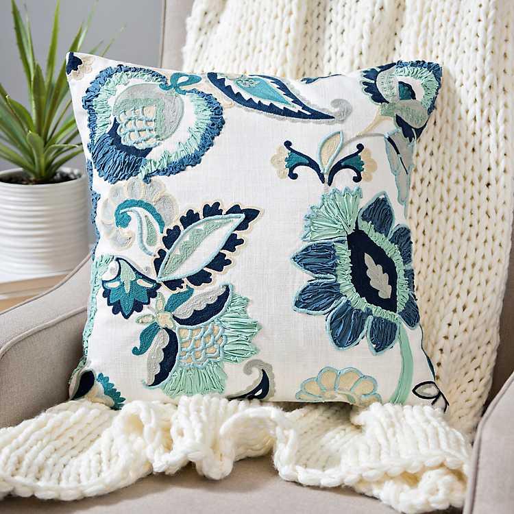 throw pillows blue clara embroidered floral pillow