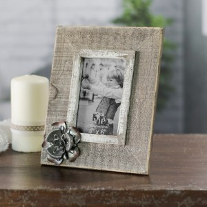 Picture Frames - Wood with Metal Flower Picture Frame, 4x6